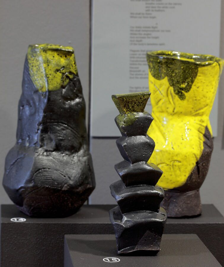 Vases by Clementina in a Solo exhibition - Poetry in African Clay at Ebony gallery